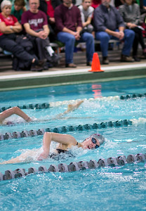 Maya Pelletier swims her last lap in the Women's 500 Yard Free Style. Photo by Tate Yoder.