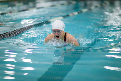 Laura Liu swims the Women's 100 Yard Brast Stroke. Photo by Tate Yoder