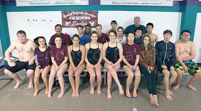 Front row, from left: Matthew Billings, Elana Bakeman, Ellie Gellerson, Emma Larson-Whittaker, Ava Sealander, Maya Pelletier, Yiging Liu, Montana Van Duijn, Yuxiao Zhang, and Yizhan Song. Second row: Coach Don Driscoll, Evan Soukup, Jeremiah Scheff, Katie Forrest, Jiachen Wang, Tianho Yan. Back row: Alexander Yap, Eric Cai, and Assistant Coach Richard Larson. Photo by Tate Yoder