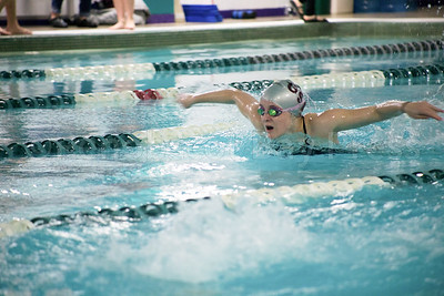 Ellie Gellerson swims her leg of the   Women's 200 Yard Relay. Photo by Tate Yoder