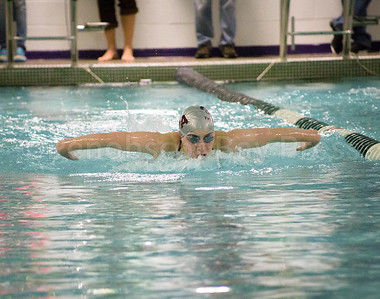 Ava Sealander competes in the Women's 100 Yard Butterfly. Photo by Tate Yoder