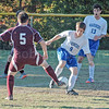 Colby Haskell works for the ball in a regular season game againstGeorge Stevens Academy. photo by Jack Scott