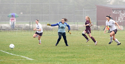 Morgan Dauk, at right, scores the second point for GSA in the 2nd half.  Photo by Franklin Brown
