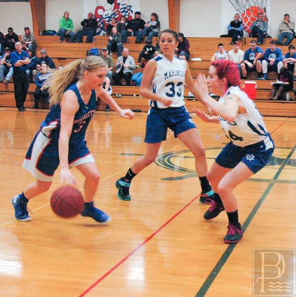 sports; dis; girls; jonesport; savannah; defends; 020416; DIS; Deer IsleStonington High School; Mariners; basketball; dishs; game; high school; school; sports; team