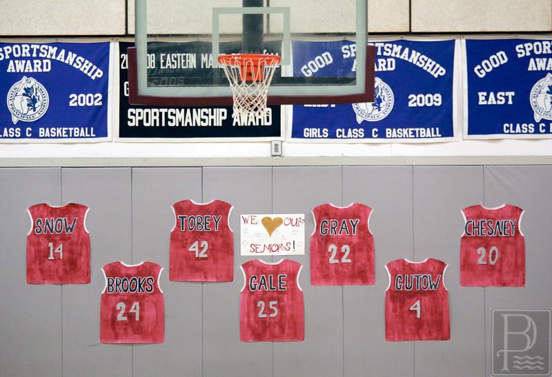 Sports; GSA; girls; Penquis; seniors; 020416; Eagles; GSA; George Stevens Academy; basketball; game; high school; school; sport; sports; team Honoring the Eagles varsity girls seniors. Photo by Anne Berleant