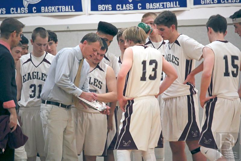 Sports; GSA; Lee; coach; 020416; AB.JPG; Eagles; GSA; George Stevens Academy; basketball; game; high school; school; sport; sports; team Coach Dwayne Carter works a play. Photo by Anne Berleant
