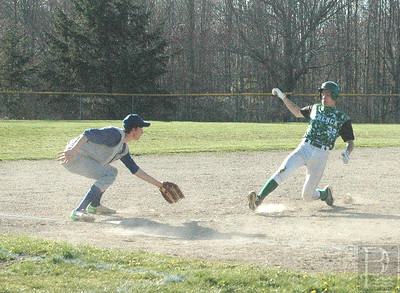 Paul Zoephal tags out at second, against Schenck. Photo by Jack Scott