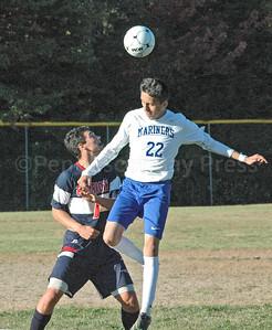 Mariner Rodrigo Rodriquez takes the header against Bangor Christian. Photo by Jack Scott