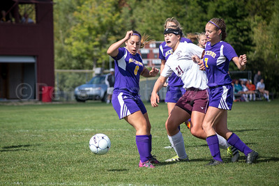 Eagle Morgan Dauk controls the ball against Bucksport. Photo by Tate Yoder