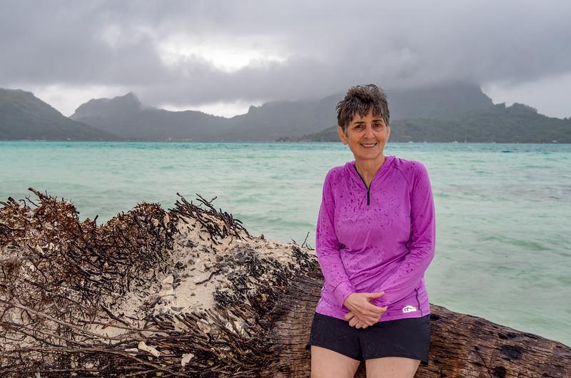 Rainy day on a private Bora Bora beach