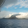 Skies clear as we depart Bora Bora