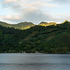 Sunrise begins over the Moorea mountains