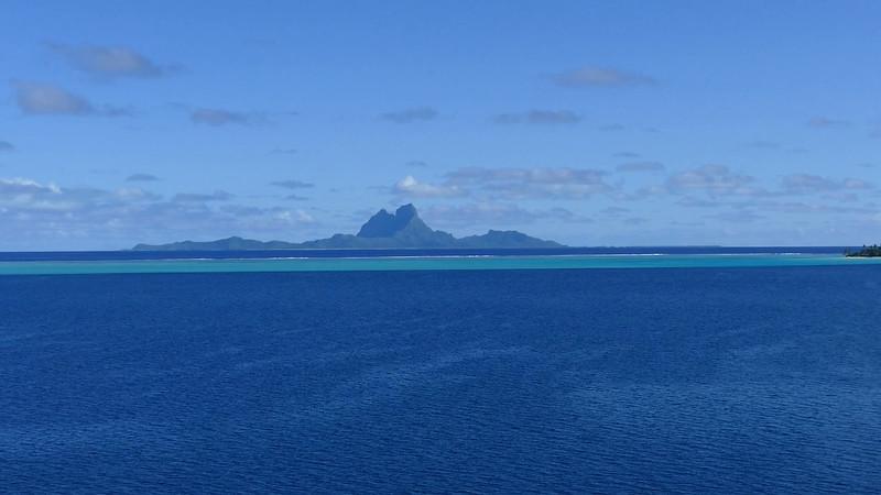 Passing Bora Bora on route to Taha'a