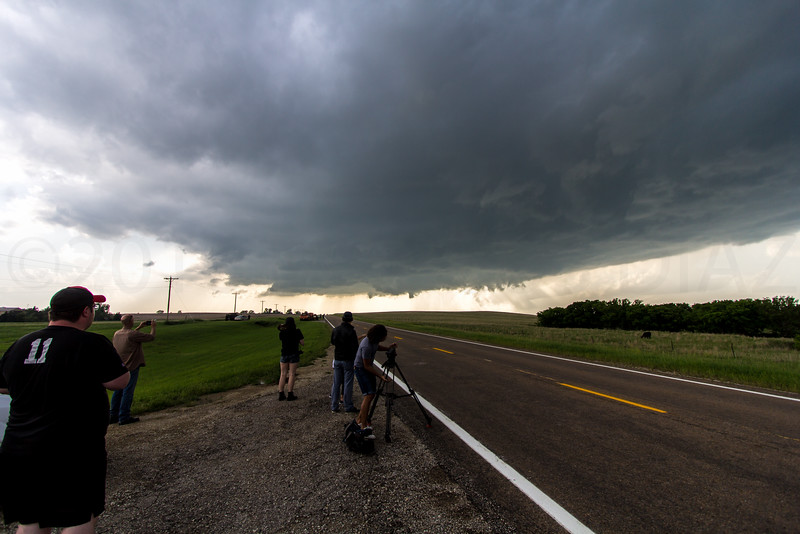 6:21pm | We're stopped about 4 miles west of Bennington, KS looking west at the base. It's unorganized but big and rain free.