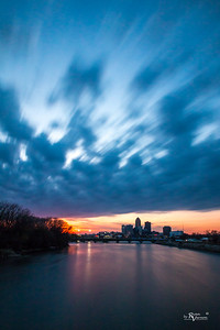 Sunset over downtown Des Moines
