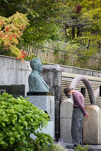 Bust of the famous singer Taro Shoji on the corner of the Taro Shoji music hall in Akita.