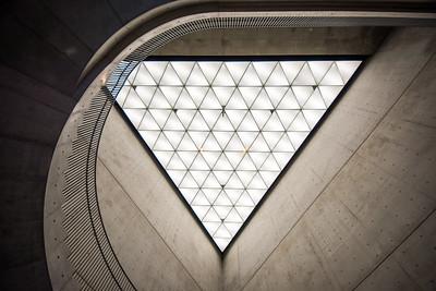 The foyer of the Akita Museum of Art by architect Tadao Ando , Akita.