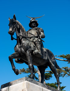 Date Masamune, the founder of Sendai, on top of Mt. Aoba overlooking Sendai, Miyagi-ken.