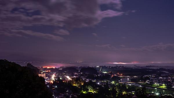 Kakunodate by night from Furushiro in Kakunodate.