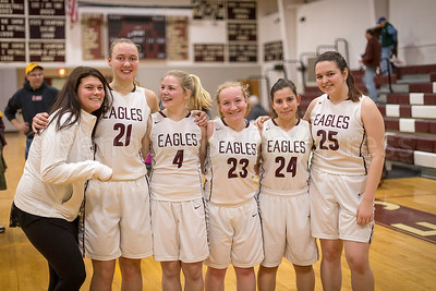 Lady Eagles seniors, from left,  student assistant Mikayla True, Morgan Dauk, student assistant Lanie Billings, Sarah Mullen, Tatiana Heggestad, and Josie Clark. Photo by Tate Yoder