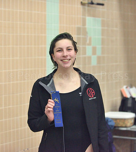 Ava Sealander takes the PVC title in the 200 yard freestyle.  Photo by Franklin Brown