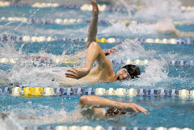 Evan Soukup swims the 200 yard freestyle.  Photo by Franklin Brown