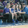 Coach Randy Shepard counsels his team. Poto by Jack Scott
