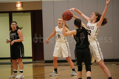 Mazie Smallidge defends against Ellsworth. Photo by Anne Berleant