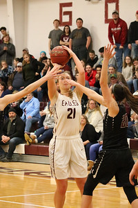 Morgan Dauk shoots from the paint. Photo by Anne Berleant