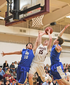Tayor Schildroth shoots in the first quarter against Lee Academy.  Photo by Franklin brown