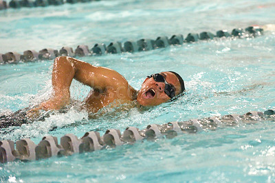 Alexnder Yap swims the men's  50 Yard freestyle.  Photo by Franklin Brown