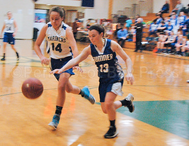 Katie Haskell moves for a steal against Sumner. Photo by Jack Scott