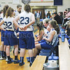 The Lady Mariners are 9-6 and in 5th place. Above, the team takes a time out against Bucksport on January 23.  Photo by Jack Scott