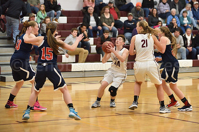 Dawn Hutchinson scores 2 points for GSA in the final quarter.  Photo by Franklin Brown