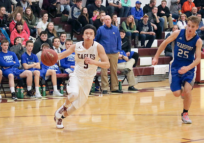 Steven Wang takes the fast break. Photo by Anne Berleant