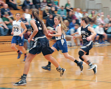 Lily Gray controls the ball against Greenville, as Abigail Stinson is ready for the pass. Photo by Jack Scott
