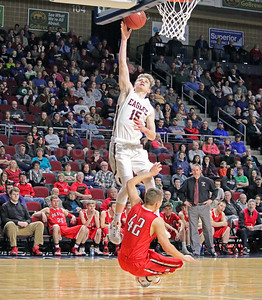 Taylor Schildroth gets the lay up. Photo by Anne Berleant