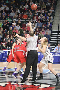 Morgan Dauk gets ready for the tip off in the regional final. Photo by Anne Berleant