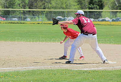 First baseman Jackson Billings stands ready against Dexter on May 20. Photo by Anne Berleant
