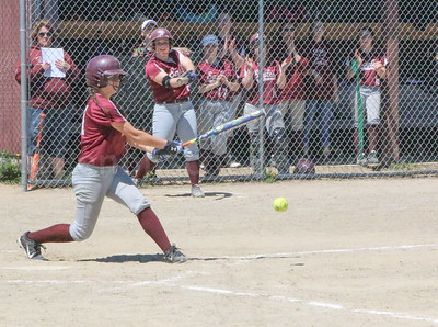 Danielle Bianco hits a grounder against Dexter on May 20. Photo by Anne Berleant