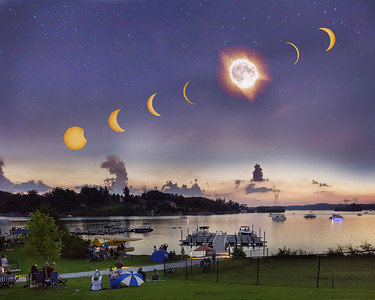 Solar Eclipse Over Lake Keewee, Salem, South Carolina