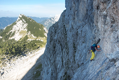 Traversing on superb Dolomite-sque rock in route Madonna - on one of the last summer evenings - was a blast!