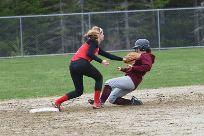 Coutesy runner Crystal Forget heads for 2nd base but is out in the 3rd inning.  Photo by Franklin Brown