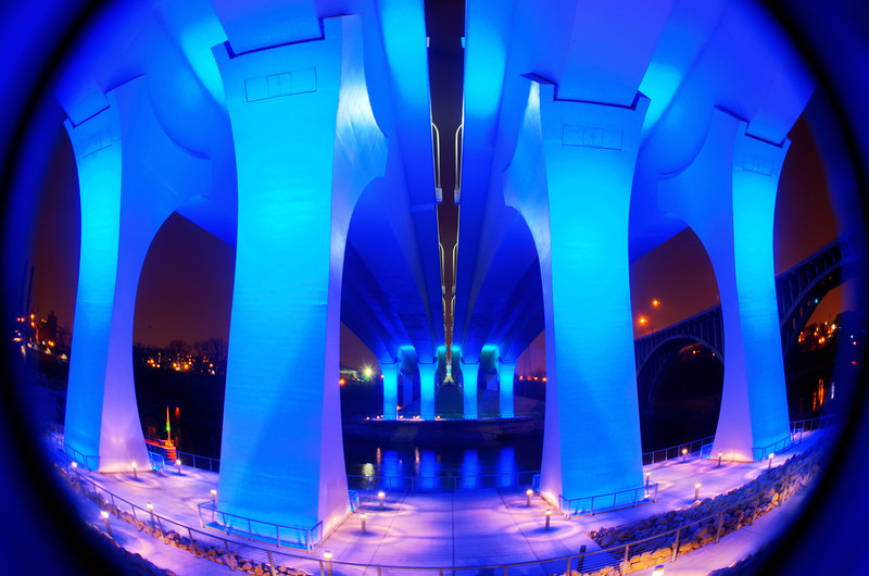 Bathed in Blue.  The new 35W Bridge