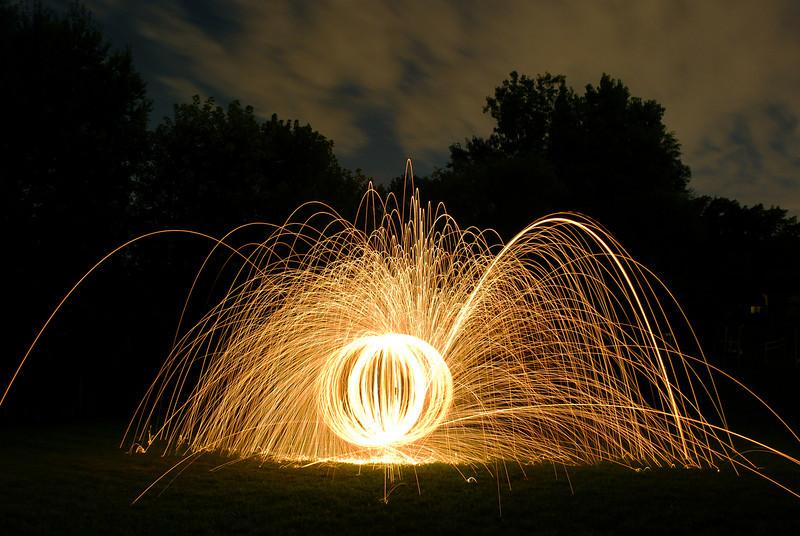 Spinning steel wool