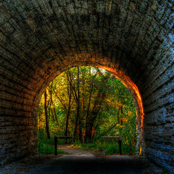Sunset at the end of the tunnel