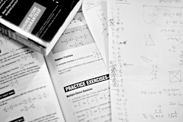 [365.189] Practice Exercises <i>Berkeley, California — July 8, 2009</i>  Practicing math for the GRE.  Believe it or not, I used to know how to do this stuff.  © Brendan Cox — All Rights Reserved