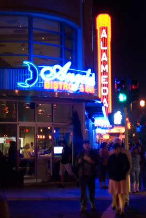 [365.170] Alameda Nightlife <i>Alameda, California — June 19, 2009</i>  Trying something in color: the new Angela's Bistro & Bar in blue contrasting with the red Alameda Theatre.  © Brendan Cox — All Rights Reserved