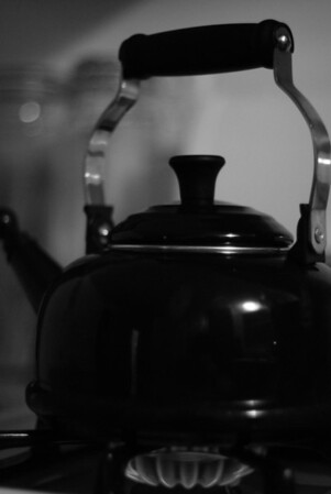 [365.093] Tea Time <i>Alameda, California — April 3, 2009</i>  Our tea kettle, illuminated only by the gas burner and a bit of light from the back room.  © Brendan Cox — All Rights Reserved