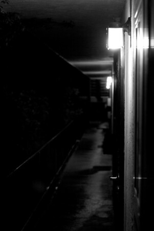 [365.121] Dimly Lit <i>Alameda, California — May 1, 2009</i>  Another view of the walkway to Bruce and Connie's apartment, this time at night. Bruce introduced me to The Bourne Identity tonight.   © Brendan Cox — All Rights Reserved